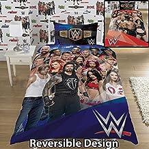 WWE 2K17 Vorderseite Vs Absatz Einzeln/Doppelbett Bettwäsche Bettbezug Set - Reversible Panel Designs - Blau, Single Duvet Cover