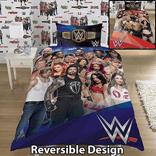 """Dreamtex Juego de Cama con Funda de Edredón de la WWE 2K17, """"Face Vs Heel», Tamaño Individual y Matrimonial (Diseño Reversible para el Tamaño Individual)."""