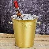 FTC Ice Bucket Goldplattierter Eiswürfelbereiter Eiswürfelfass Bier Rotwein Champagnereimer groß 5 Liter, Gold