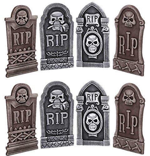Satz von 8 Grabsteine Grab Grabsteine SICKE Halloween-Party Polystyrol 40cm Dekorationen (Grabsteine Für Sätze)