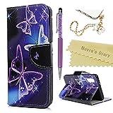 Huawei P20 Hülle Case Mavis's Diary Handyhülle Leder Tasche Flipcase Cover Schutzhülle Skin Ständer Schale Handtasche Stoßdämpfend Bumper Magnetverschluss Brieftasche Ledertasche-Violett Schmetterling