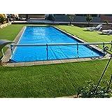 Enrouleur piscine télescopique de 4,3m à 5,55m) (Couvre-lit solaire) (acier inoxydable/aluminium)