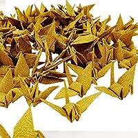 Hangnuo Glitter papel Origami grúas guirnalda brillante adorno hecho a mano DIY con invisible hilo de seda para boda telón de fondo decoración para el hogar