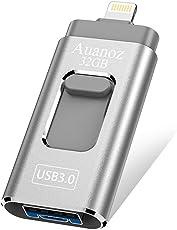 USB-Flash-Laufwerk 32 GB iPhone Memory Stick, Auanoz Thumb-Laufwerk USB 3.0 Memory Stick kompatibel iPhone iPad Android und Computer (Silber-32GB-3.0)