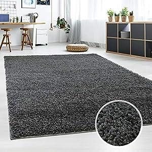 Hochflor Teppich | Shaggy Teppich fürs Wohnzimmer Modern & Flauschig | Läufer für Schlafzimmer, Esszimmer, Flur und Kinderzimmer | Langflor Carpet dunkelgrau 080x150 cm