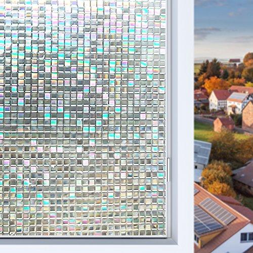 Housolution 3D Fensterfolien, No-Kleber statische Dekor Privatsphäre PVC Fensterfolien nicht-klebende Mattglas Aufkleber Hitzesteuerung Anti-UV-Schutzhülle für Home Decor, kleine Mosaik (79 x 18 Zoll) (Haustier Haus Isolierung)