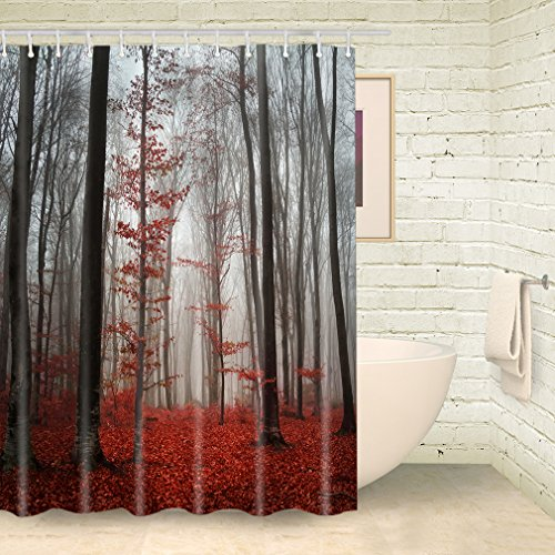 "FOOG Fog Forest Shower Curtains Red Lacdscape Tree Shower Curtain Autumn Shower Curtain Bathroom Sets with Hooks (70""Wx78""L)"