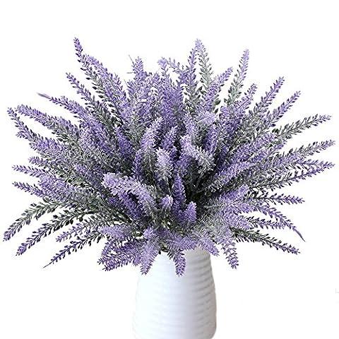 Plantes de lavande artificielle, MIHOUNION 8 lots Fake Flocked Provence Fleurs violettes Bouquets Accueil Cuisine Bureau Mariage Fenêtres Arrangements floraux Décoration