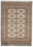 CarpetFine: Pakistan Buchara 2ply Teppich 124x176 Braun,Grau - Handgeknüpft - Ornament