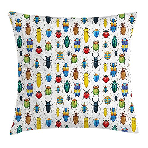 Watercolor Throw Pillow Cushion Cover, Colorful Beetles and Bugs Kinds of Insects Science Illustration Artsy Print, Decorative Square Accent Pillow Case, 18 X 18 Inches, Multicolor