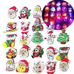 Auplew Weihnachtsbrosche 25 stücke Glühendes Abzeichen der Weihnachtsfunkeln Brosche Weihnachtsmann Thema Party Dekorationen Geschenk