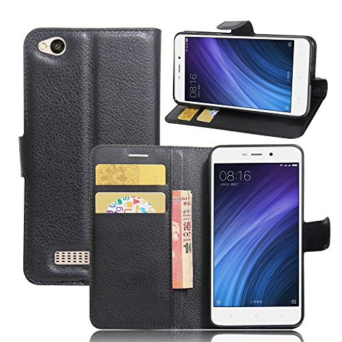 Xiaomi Redmi 4A Handyhülle Book Case Xiaomi Redmi 4A Hülle Klapphülle Tasche im Retro Wallet Design mit Praktischer Aufstellfunktion - Etui Schwarz