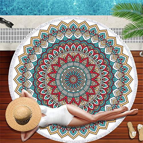 LYJZH Rundes Strandtuch- Vintage Muster Strandtuch Mikrofaser Gürtel Quaste Strandkissen Druck dekorative Handtuch -11 150 * 150cm