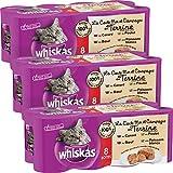 Whiskas  Boîtes pour chats, La Carte Mer et Campagne en Terrine, 8*400G  - Lot de 3 (24 Boîtes)