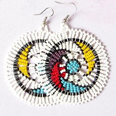 Boucles d'oreilles disque en perles Sud Africain Zoulou - Blanc et multicolore
