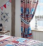 Vorhänge für Kinderzimmer Bleistiftfalten 168x183cm Boote, Anker und Streifen 1 Paar