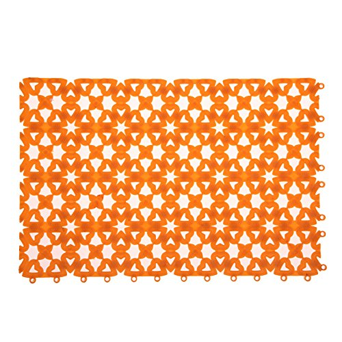 Rrimin 1 Pcs Plastic Bathroom Shower Room Floor Mat Anti Slip Rugs Heart Shape (Orange)