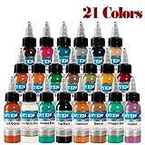 LVYY Premium Tatouage Pigment Encre 21 Couleurs De Base Encre De Tatouage 1 Oz 30ml/Bouteille d'alimentation De Tatouage Professionnel pour Kit De Tatouage