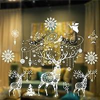 Weihnachten Fensterbilder Weihnachtssticker, Skitic Schneeflocken Fenstersticker Fensterdeko Wanddeko Weihnachtsdeko Wandaufkleber Wandtattoo Wandsticker Weihnachten Rentier Aufkleber (Stil 01)