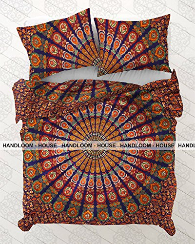 Mandala india Queen Size funda nórdica Doona abierto configurado Bohemia Hippie Throw
