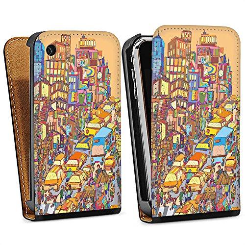 Apple iPhone 5s Housse Étui Protection Coque New York couleurs Ville Sac Downflip noir