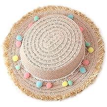 Leisial Enfant Fille Chapeau de Paille Casquettes visières Anti-Soleil  Respirant Anti UV Chapeau de a2a6d8ba84f