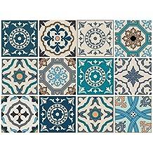 Decorativa stickerfl iesen con motivos y adornos para paredes y azulejos | 12piezas | Mate | 15x 15cm