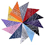 GHB 12 x Bandana per Capelli Collo Testa Sciarpa Fazzoletti da Taschino Fascia Foulard Multicolori 100% Cotone