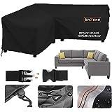 Enzeno Housse de protection pour meubles de jardin en forme de L, imperméable, coupe-vent, bâche pour canapé d'angle, meubles