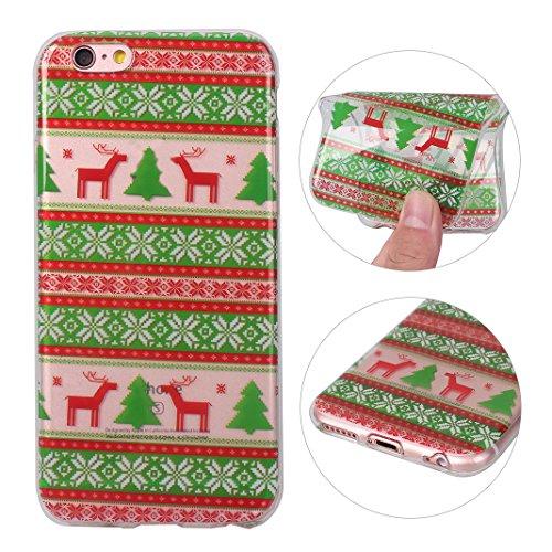 iPhone 6S Plus Hülle Weihnachten, Rosa Schleife iPhone 6 Plus Schutzhülle Ultra Dünn Transparent TPU Silikon Backcover Schale Weihnachten Muster Handyhülle für iPhone 6 Plus / 6S Plus Weihnachtsbaum