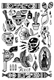 TATATAT das Streetart Label aus Berlin Temporäre Tattoos #005 BLK Mexico by M.Krusche Tätowierungsaufkleber Tattoo Tat Damen Herren Körperkunst Aufkleber (Gold) (SCHWARZ)