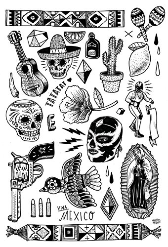 t Label aus Berlin Temporäre Tattoos #005 BLK Mexico by M.Krusche Tätowierungsaufkleber Tattoo Tat Damen Herren Körperkunst Aufkleber (Gold) (SCHWARZ) ()