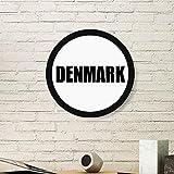 DIYthinker Dänemark Land Name Art Malerei Bild Photo Holz-Rund Rahmen Ausgangswand-Dekor-Geschenk Large Schwarz