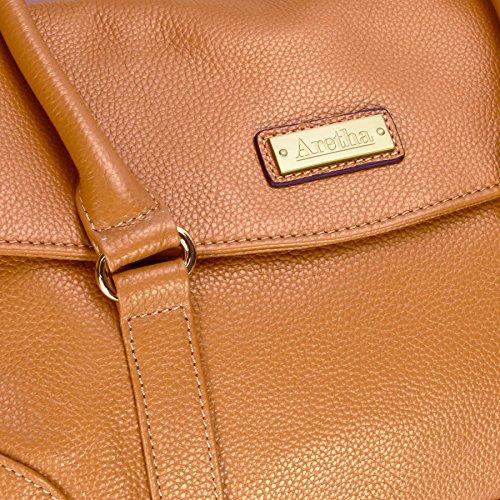 Aretha in vera pelle stile Vintage, pieghevole-Borsa a tracolla Giallo (giallo)