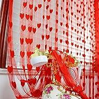 Gosear - Cortina de cadena línea borla para pared puerta ventana portal Home Decor Divisor(1 m x 2 m,Rojo)