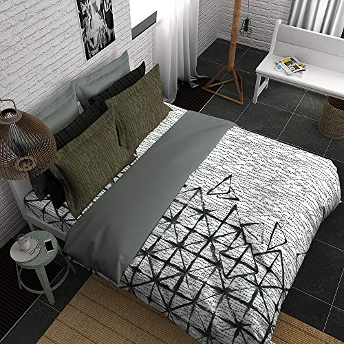 Boutique Living India - Grey,Black 300TC King Size Cotton Printed with 4 Pillow Covers Bedsheet Set-(274cm x 274cm) Itajime - Buy Online Bedsheet