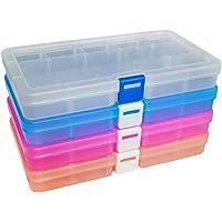 DUOFIRE Boîte De Rangement Plastique Bijoux Outils Ajustable à Usages Multiples Récipient (15 Compartiments x 4 Packs, 4…