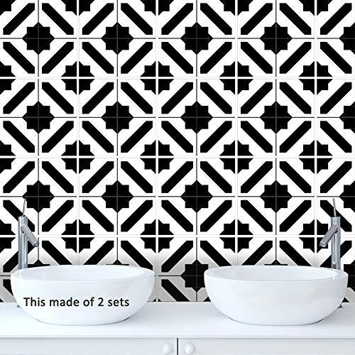 JY ART Stickers Carrelage - Adhesif Mural Salle de Bain et Cuisine - Carrelage Autocollant/Adhésive décorative à Carreaux/Noir et Blanc Style marocain, 15 * 15cm