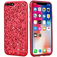 coque iphone 8 plus paillette rouge plastique