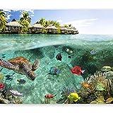 carta da parati Foto carta da parati Tessuto non tessuto Premium Stampa artistica Adesivo in pile Decorazione murale Poster Design moderno Natura Paesaggio Paesaggio Pesci tropicali isola tr
