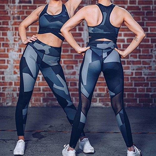 Femmes Sport Pantalon Camouflage Maille Épissée Fitness Leggings Taille Haute Yoga Courir Gym Élastique Stretch Pantalon Dentraînement Pantalons de Survêtement Bleu