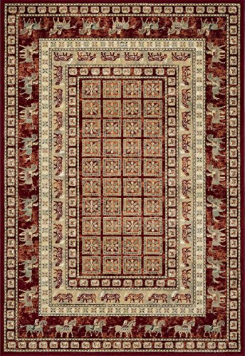 Traditional Rug Bordered Persian Polypropylene Runner 67 x 330 cm Machine Made Red