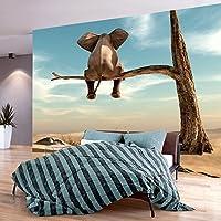 murando - Fototapete 150x105 cm - Vlies Tapete - Moderne Wanddeko - Design Tapete - Wandtapete - Wand Dekoration - Elefant Baum Wüste Tier Abstrakt Natur Himmel für Kinder g-B-0033-a-a