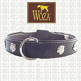 Woza Exclusive HUNDEHALSBAND 3,8/60CM Rottweiler Vollleder RINDNAPPA SCHWARZ Lasche HANDGENÄHT Handmade Collar