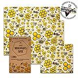 vanHeyden 2.Generation Bienenwachstücher wiederverwendbar, 3er Pack, Wachspapier für Lebensmittel mit EU Zulassung, Zero Waste Bees Wraps, Beeswax wrap (Basic)