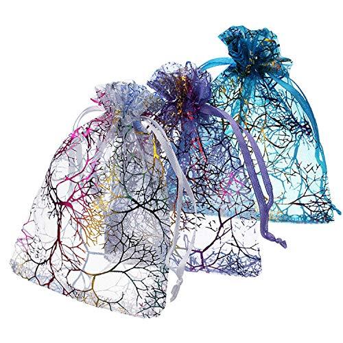 Sunonvi 25 pz/Lotto 7 * 9/9 * 12/10 * 15 cm Modello Corallo Organza Sacchetti con Coulisse Garza Garza Festa di Nozze Sacchetti di Caramelle imballaggio dei monili