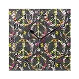 funnyy - Reloj de Pared Cuadrado de acrílico con diseño de Mariposas y símbolo de la...