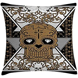 Yinorz Tattoo Decor Throw Pillow Cushion Cover, Wise Old and Brave Viking Warrior with His Long White Beard and Armour, Decorative Square Accent Pillow Case, 18 X 18 inches, White and Black