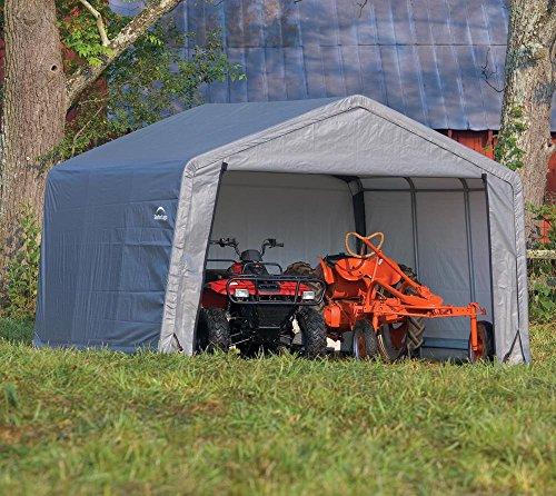 ShelterLogic Foliengerätehaus Gerätehaus in-a-Box Grau 13,7m² // 370x370x260 cm (BxLxH) // Foliengarage und Aufbewahrungsgarage -