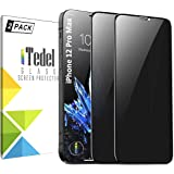 iTedel [2 PACK] Privacy Screen Protector for iPhone 12 Pro Max, (Anti-Fingerprint & Anti-Scratch) 9H 2.5D Tempered Glass Film